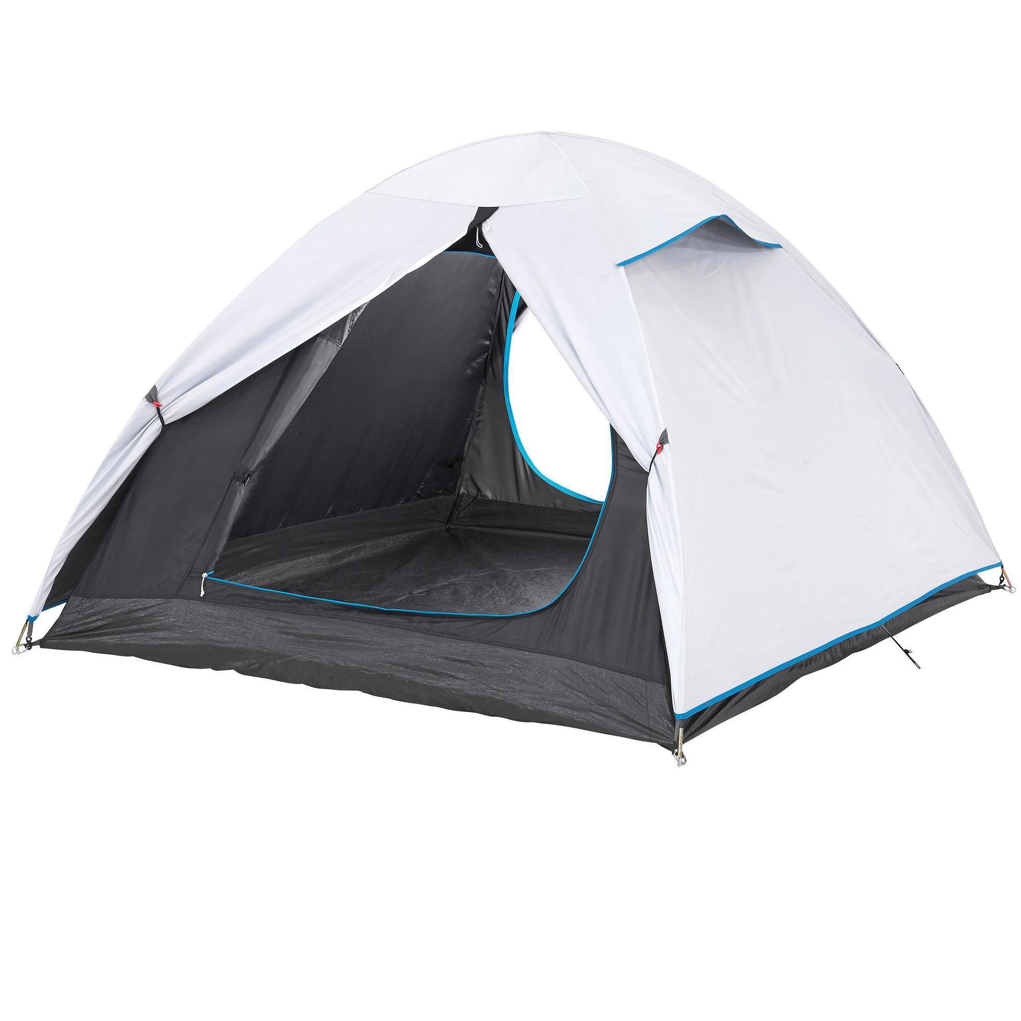 tente de camping blanche et grise