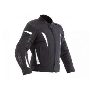 Una chaqueta de moto de mujer RST en blanco y negro