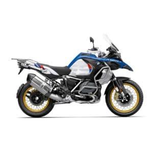 Une moto BMW 1250 adventure Bleu Rouge